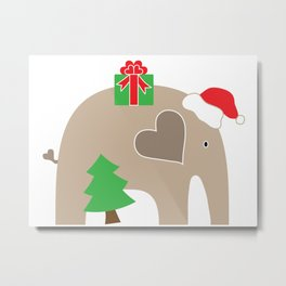 Christmas Elephant Metal Print