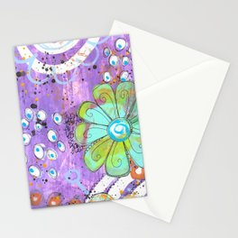 Mixed media painted background with flowers Stationery Cards