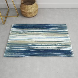 Indigo Blue and Beige Watercolor Stripes Rug