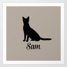 Cat pillow Art Print