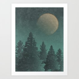 Wild Night Pines: Rustic Outdoor Landscape  Art Print