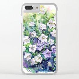Campanula watercolor flowers, aquarelle bellflowers Clear iPhone Case