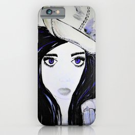 Girl with Black Hair and Hat. Blue Eyes Hand Painted by Jodi Tomer iPhone Case