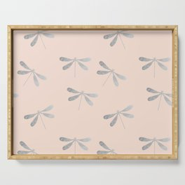 dragonfly pattern: silver & rose Serving Tray
