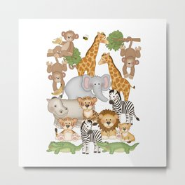 Safari Animals Kids Decor Metal Print