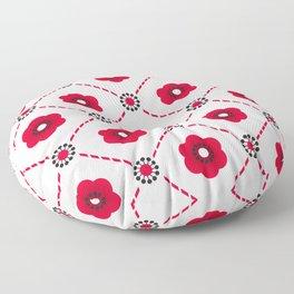 Beautiful Asian Japanese Origami Paper Red Flower Pattern Art Floor Pillow
