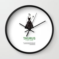 taurus Wall Clocks featuring Taurus by Cansu Girgin