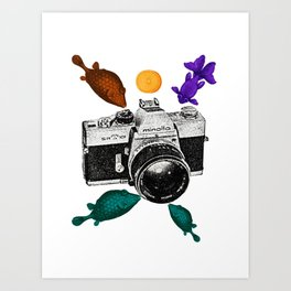 Surreal Collage Fishes with a vintage camera and an orange Art Print