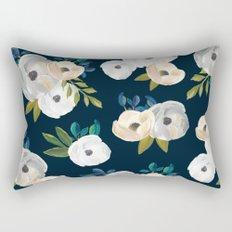 Midnight Florals - Blue & Cream Rectangular Pillow