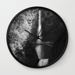 Multnomah Falls Oregon Waterfall Black and White Wall Clock