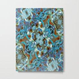 Turquoise Floral Fashion Metal Print
