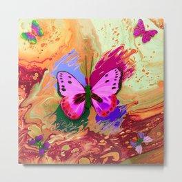 Butterflies in Flight - Rainbow Butterfly Metal Print