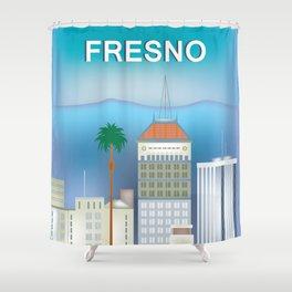 Fresno, California - Skyline Illustration by Loose Petals Shower Curtain