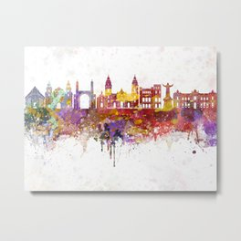 Lima skyline in watercolor background Metal Print