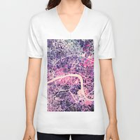 map V-neck T-shirts featuring London Mosaic Map #2 by Map Map Maps