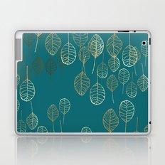 Golden Leaves - Teal Laptop & iPad Skin