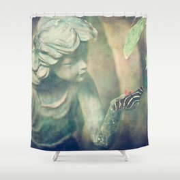 Girl and Butterfly Shower Curtain