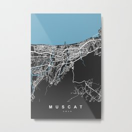 Muscat City Map - Oman | Black | More Colors, Review My Collections Metal Print