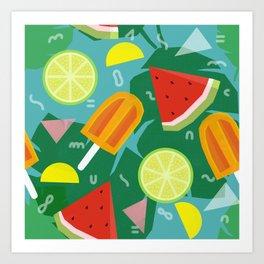 Watermelon, Lemon and Ice Lolly Art Print
