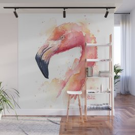 Flamingo Watercolor Pink Bird Tropical Animal Wall Mural