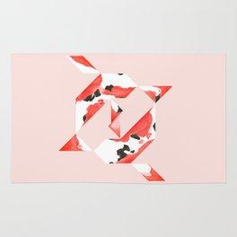 Tangram Koi - Pink background Rug