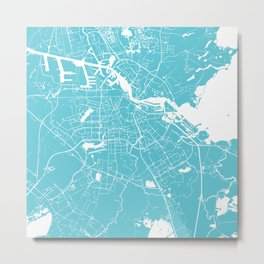Amsterdam Turquoise on White Street Map Metal Print
