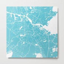Amsterdam Turquoise on White Street Map Metal Print