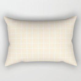 Papaya whip - pink color - White Lines Grid Pattern Rectangular Pillow