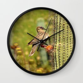 Perching On A Saguaro Cactus Wall Clock