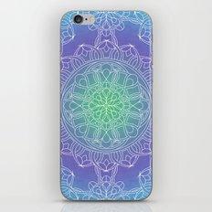 White Lace Mandala in Blue, Green and Purple iPhone & iPod Skin