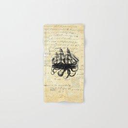 Kraken Octopus Attacking Ship Multi Collage Background Hand & Bath Towel