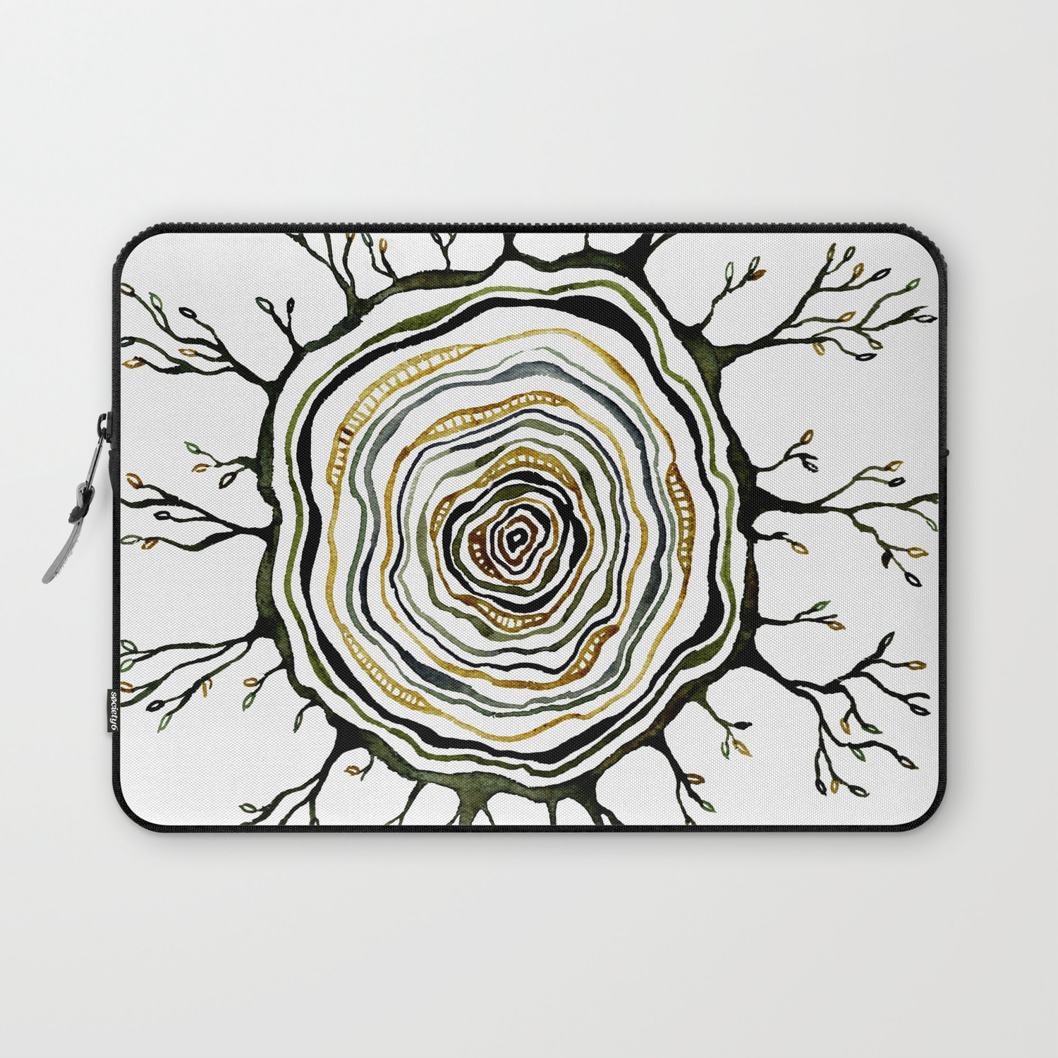 Watercolor Tree Ring Roots Laptop Sleeve By Djcustoms Society6
