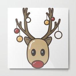 Reindeer christmas deer gift idea present red nose Metal Print