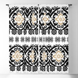 Black white faux gold glitter hand painted floral aztec Blackout Curtain