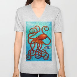 Distracted - Octopus and fish Unisex V-Neck