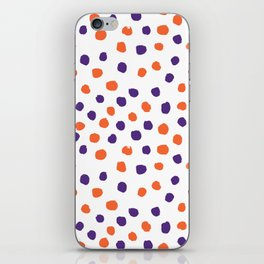 Orange and purple clemson polka dots university college alumni football fan gifts iPhone Skin