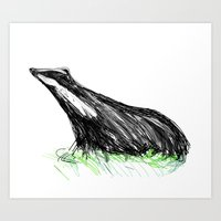 badger Art Prints featuring Badger by James Peart