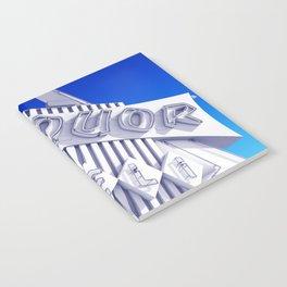 Liquor Deli Vintage Retro Neon Sign Blue Notebook