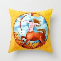 sagittarius Throw Pillows featuring Sagittarius by Sandra Nascimento
