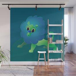 Cute Green Baby Cartoon Lion Wall Mural