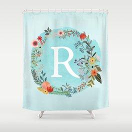 Personalized Monogram Initial Letter R Blue Watercolor Flower Wreath Artwork Shower Curtain
