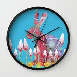 Garden Rabbit Wall Clock