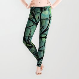 Contemporary Art Aqua Teal Green Autumn Tree Leggings