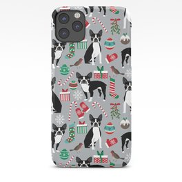 Boston Terrier christmas holiday pattern design dog breed gifts pet friendly home decor iPhone Case