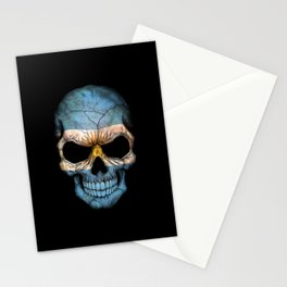 Dark Skull with Flag of Argentina Stationery Cards