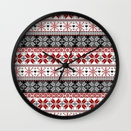 Winter Fair Isle Pattern Wall Clock
