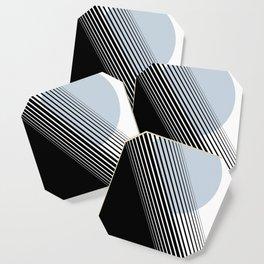 Rising Sun Minimal Japanese Abstract White Black Blue Coaster
