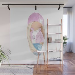 Doll in a pink hat Wall Mural