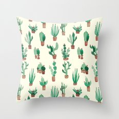 litle watercolor pocket cactus Throw Pillow
