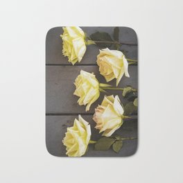 Country Yellow Roses Bath Mat